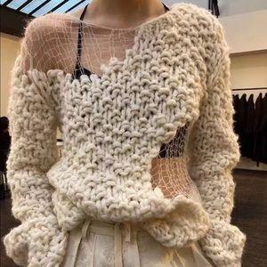 Seton Cream Mix Textured Luxury Runway Sweater